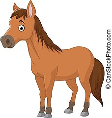 mignon, cheval, dessin animé, brun