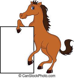 mignon, cheval, vide, dessin animé, signe