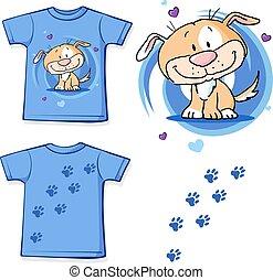 mignon, -, chien, illustration, t-shirt, vecteur, conception