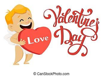 mignon, coeur, grand, valentines, salutation, cupidon, carte, tenue, jour, rouges