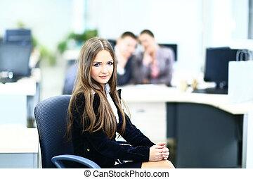 mignon, collègues, affaires femme, fond, portrait