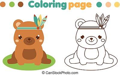 mignon, coloration, printable, game., page, boho, gosses, bear., activité, dessin