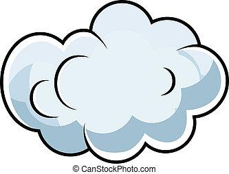mignon, comique, vecteur, dessin animé, nuage