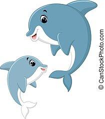 mignon, couple, dauphin, dessin animé