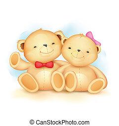 mignon, couple, ours, teddy