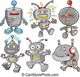mignon, cyborg, vecteur, ensemble, robot