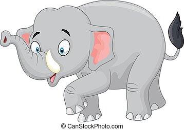 mignon, dessin animé, éléphant