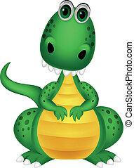mignon, dessin animé, dinosaure, vert