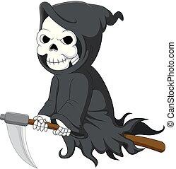 mignon, dessin animé, faux, reaper, équitation, sinistre