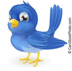 mignon, dessin animé, oiseau bleu