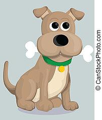 mignon, dessin animé, os, chien