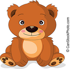 mignon, dessin animé, ours