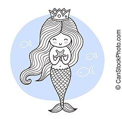 mignon, dessin animé, princesse, sirène, fish.