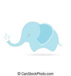 mignon, dessin animé, pulvérisation, eau, éléphant, thaïlande, dessin