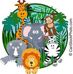 mignon, dessin animé, safari