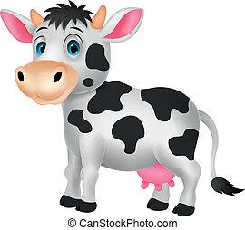 mignon, dessin animé, vache