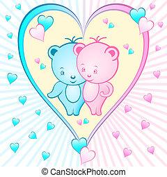 mignon, dessins animés, ours, coeur