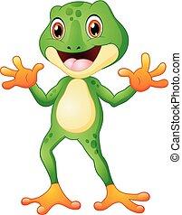 mignon, deux, grenouille, mains ondulantes, dessin animé