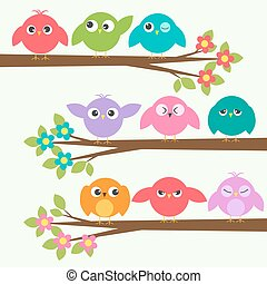 mignon, différent, ensemble, arbres, émotions, branche, fleurir, oiseaux