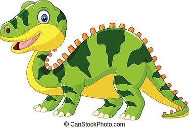 mignon, dinosaure, arrière-plan vert, blanc, dessin animé