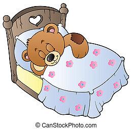 mignon, dormir, ours, teddy