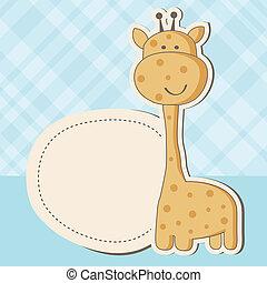 mignon, douche, girafe, dorlotez fille, carte