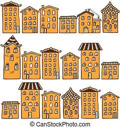 mignon, doux, houses., seamless, modèle, maison