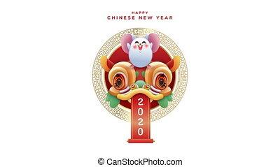 mignon, dragon, nouveau, 2020, année, rat, animation, chinois