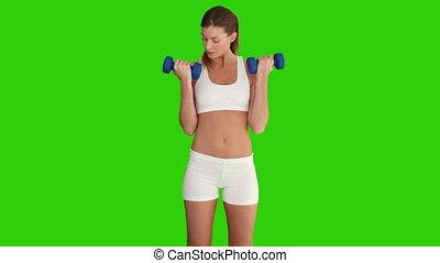 mignon, dumbbells, femme, exercice