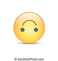 mignon, emoji., média, smiley, envers, vecteur, dessus, social, emoticon., dessin animé, bas, heureux