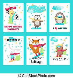 mignon, ensemble, animaux, vecteur, cartes, snowboarding