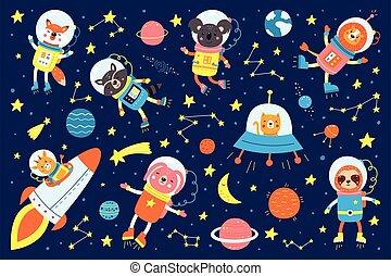 mignon, ensemble, astronautes, vecteur, ovnis, style., satellite, dessin animé, illustrations, étoiles, animaux, fusées, espace