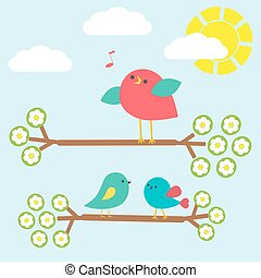mignon, ensemble, branches, oiseaux, printemps