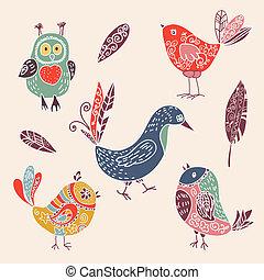 mignon, ensemble, couleur, griffonnage, oiseaux, vendange, dessin animé