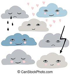 mignon, ensemble, nuages, dessin animé