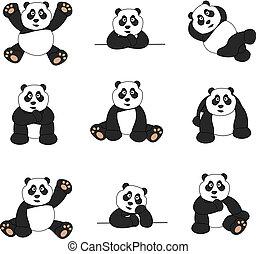 mignon, ensemble, panda