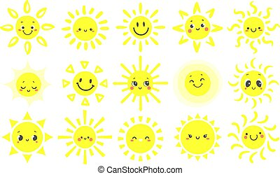 mignon, ensemble, type caractère drôle, soleils, chaud, lumière soleil, main, clair, vecteur, sun., illustration, soleil, dessiné, sourire, briller, jour, dessin animé, heureux