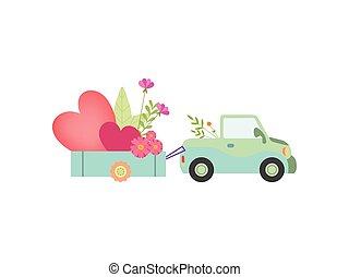 mignon, entiers, voiture, illustration, vecteur, charrette, cœurs, fleurs