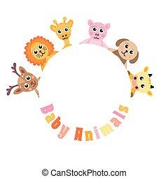 mignon, espace, texte, cadre, animaux, illustration, invitation, vecteur, vide, bébé
