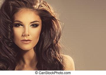 mignon, femme, brunette, portrait