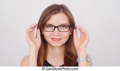 mignon, femme, jeune, business, lunettes