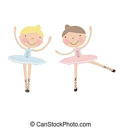 mignon, filles, ballerine, danse