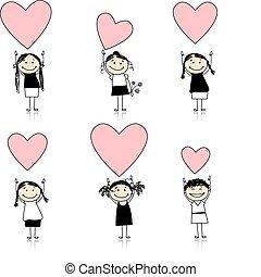 mignon, filles, valentin, conception, cœurs, ton