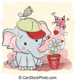 mignon, fleur, dessin animé, éléphant