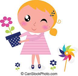 mignon, fleur, printemps, isolé, girl, blanc
