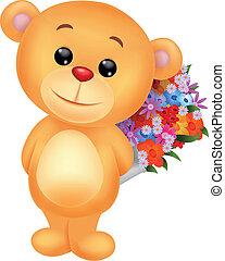 mignon, fleur, seau, ours, tenue