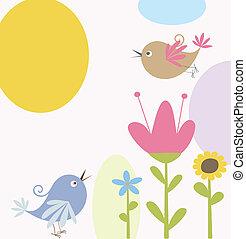 mignon, fleurs, oiseaux