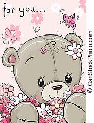 mignon, fleurs, ours, teddy
