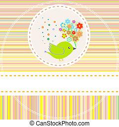mignon, fleurs, vecteur, oiseaux, carte