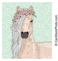 mignon, flowers., cheval